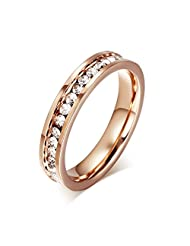 Mealguet Jewelry 4MM 18K Rose Gold Round Women's Stainless Steel band Ring with a Row of Cubic Zircon, Size US 5-10