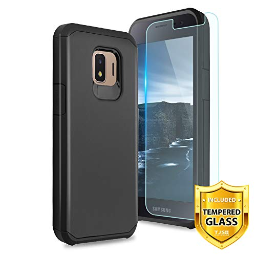 TJS Phone Case for Samsung Galaxy J2 Core/J2 2019/J2 Pure/J2 Dash, with [Tempered Glass Screen Protector] Dual Layer Hybrid Shockproof Impact Rugged Armor Drop Protection Cover (Black)