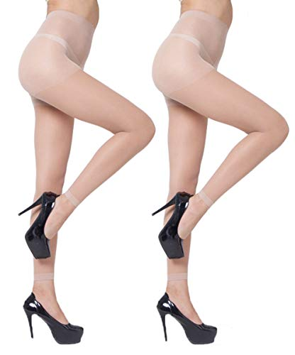 Abberrkr Womens Footless Sheer Tights Silky Sheer Pantyhose - 2 Pairs (Nude) ()