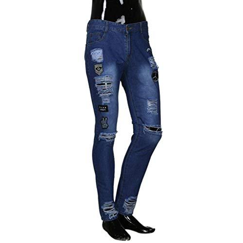 Estilo Casual Zipper Skinny Biker Denim Slim Uomo Distrutti Strechy Pantaloni Dunkelblau Especial Da Jeans qYx7861wnp