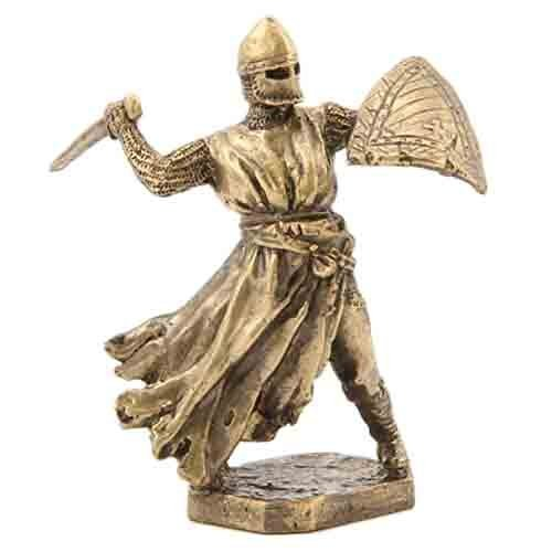 CTOC Knight with Sword and Shield Bronze Statuette Siege of Acre Series Handmade Military Historical Miniature 40 mm Collection Figurine Metal Toy Soldier pub100 ()