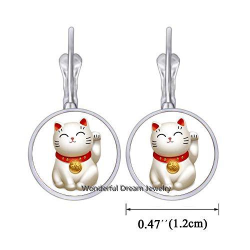 Waozshangu Silver Maneki Neko Lucky Cat Earrings,Pewter Maneki Neko Charm Earrings,Welcoming Cat Earrings, Chinese Lucky Cat Earrings,PU011 (Silver)