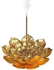 Lotus Stick Incense Burner, Brass Incense Burner for Zen Meditation, Yoga, Home Decoration ( Gold )