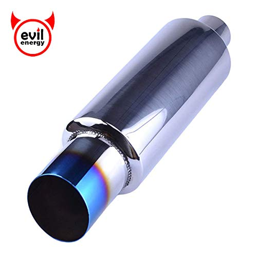 EVIL ENERGY 2″ Inlet 3″ Outlet Exhaust Tip Burnt Muffler Universal 14.8″ Length
