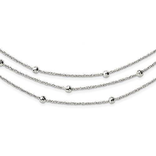 925 Sterling Silver 3 Strand Beaded 2in. Extension Chain Necklace Pendant Charm Multi-str Bead Station Multi Layer Fine Jewelry Gifts For Women For Her