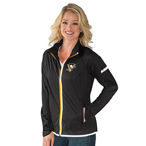 GIII For Her NHL Pittsburgh Penguins Women's Batter Light Weight Full Zip Jacket, Large, Black