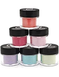 Matte Cosmetic Fine Glitter Powder Kit (6 PK)- Safe for eyeshadow, make up, body and nails.