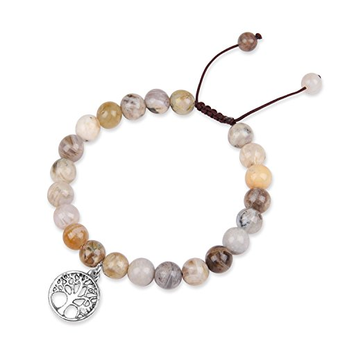 YOUTH UNION Lava Rock Stone Essential Oil Diffuser Bracelet Natural Amazonite Gemstone Beads Men Women Relieves Stress Healing Crystal Beads Bracelet (Bamboo Leaf Agate)