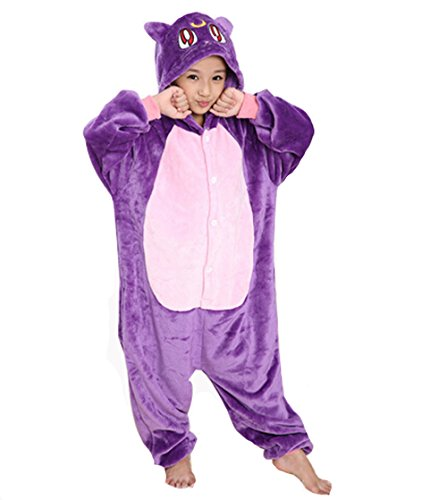 Kiddom Children's Kigurumi Pajamas Flannal Thick Warm Kids Costume Animal Pyjamas Purple cat,S(Height (Cat Costumes For Toddlers)