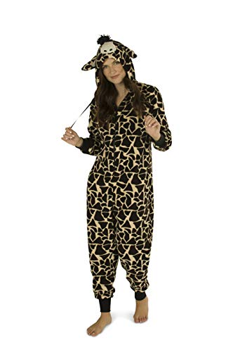 Totally Pink Women's Plush Warm Cozy Character Adult Onesies for Women One-Piece Novelty Pajamas (Small, Giraffe -
