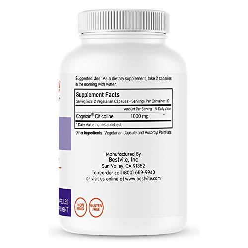 Cognizin Citicoline 500mg (60 Vegetarian Capsules) - Clinically Studied Form of Citicoline - No Stearates - Vegan - Non GMO - Gluten Free
