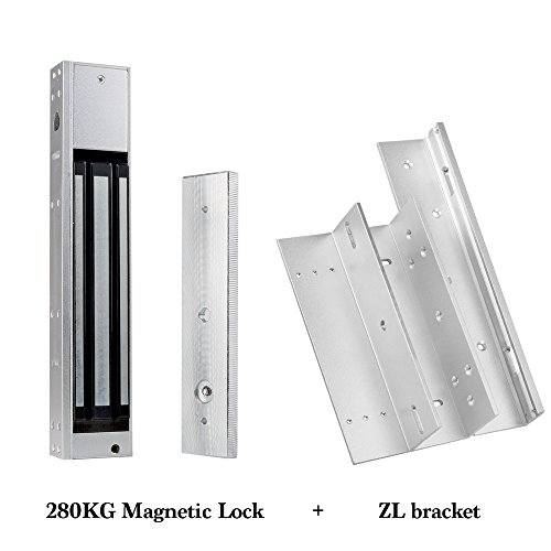 HFeng Electromagnetic 280KG(600lbs) Magnetic Lock Access Control Electric Lock with ZL Bracket DC12V Fail Safe for Single Door