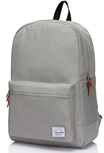 Backpack Gray Womens (Vaschy 15 Inch Laptop Backpack Water Resistant Casual College Backpack Gray)