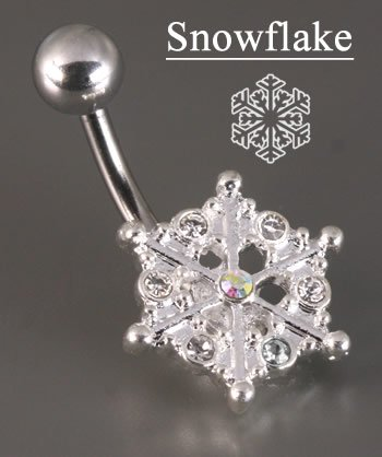 14g 7/16 Crystal Explosion Snow Flake Winter Season Belly Button Ring Crystal Explosion Belly Button