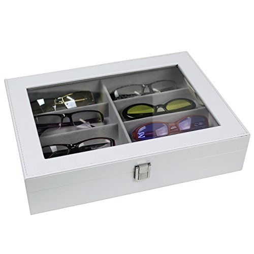 Mooca 8 Slots Deluxe Leatherette Glasses Storage Case with Clear View Top, White