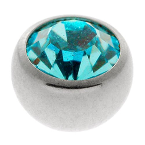 Steel Threaded Jewelled Balls - Blue Zircon 1.2 x 3mm ()