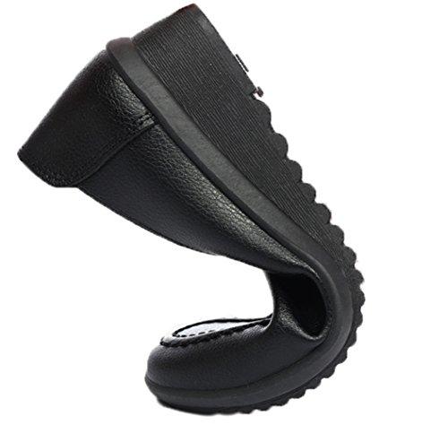 WUIWUIYU Women's Loafers Slip On Comfort Casual Leather Shoes Wedges Walking Moccasins by WUIWUIYU (Image #2)