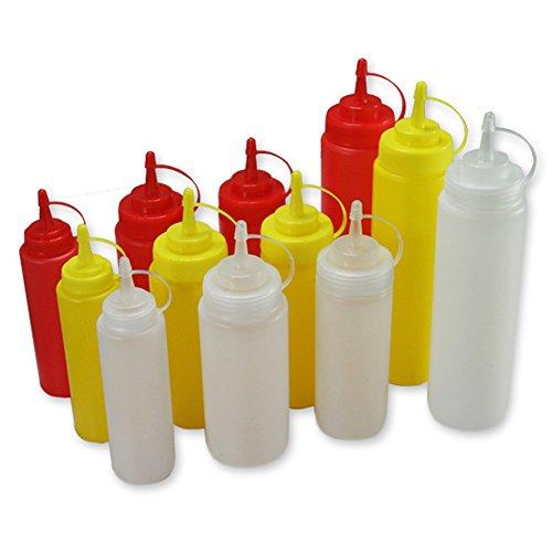 Comida Botella de cocina, Squeeze plástico exprimir condimento botellas dispensadores con tapas para salsa BBQ aceite de oliva ketchup mostaza mayonesa ...