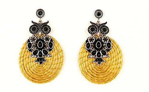 Golden Grass Black Owl Earrings Handmade in Brazil with natural Capim Dourado