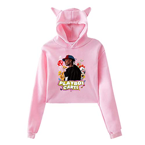 Cat Ear Hoodie Playboi Poke It Out-Carti Sweater Pink M