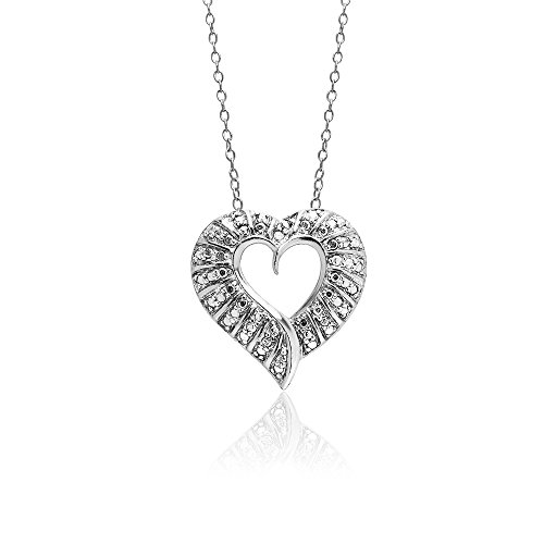 Starburst Sterling Silver Diamond Accent Bold Open Heart Necklace, IJ-I3