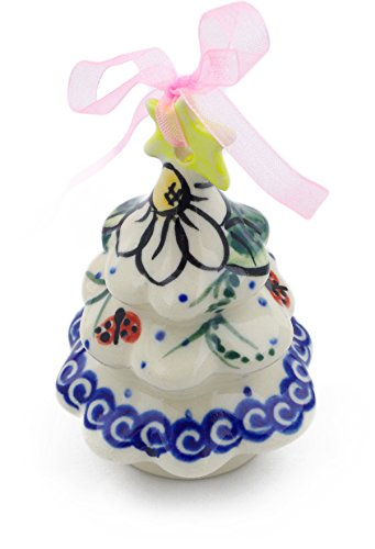 Polmedia Polish Pottery Polish Pottery 3¼-inch Christmas Tree Ornament (Ladybug Garden Theme) Signature UNIKAT + Certificate of Authenticity