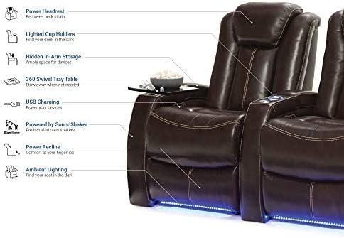 Seatcraft Delta Home Theater Seating Leather Power Recline, Powered Headrests, and Built-in SoundShaker Row of 3, Brown