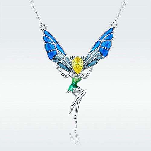 Fairy CZ Solid S925 Silver Necklace Pendant Fashion Chain for Women Wedding Gift