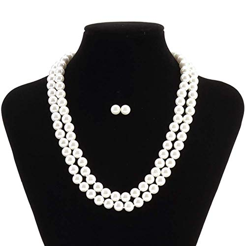 LEILE 8mm 18inch White Double Row Faux Pearls Necklace Earring Jewelry Set for Women Girl