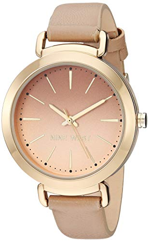 Nine West Women's NW/2288GPTN Gold-Tone and Tan Strap Watch