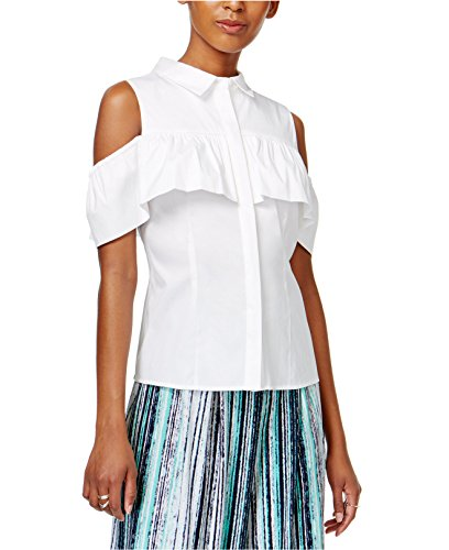 White Ruffled Cotton Camisole - Bar III Women's Ruffled Off-The-Shoulder Blouse Bright White Large