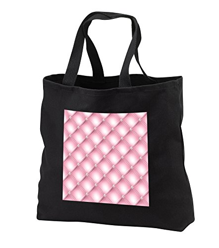 Anne Marie Baugh - Patterns - Pretty Pink Faux Printed Tufted and Faux Printed Diamond Pattern - Tote Bags - Black Tote Bag 14w x 14h x 3d (tb_283466_1) (Web Tufted Hand)