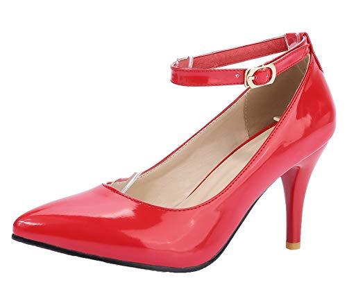 GMMDB006450 Alto Ballet Donna Rosso Tacco Flats AgooLar Puro Fibbia HUTqxU0g
