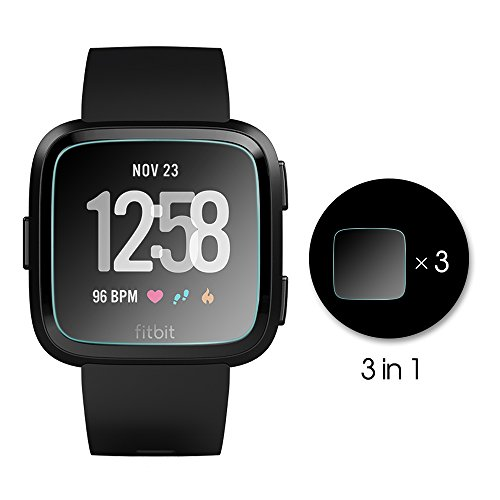AWINNER Glass for Fitbit Versa,Screen Protector Ultra-Clear Tempered-Glass for Fitbit Versa Smartwatch (3-Pack)