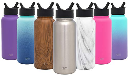 Simple Modern 32 oz Summit Water Bottle with Straw Lid - Gifts for Men & Women Hydro Vacuum Insulated Tumbler Flask Double Wall Liter - 18/8 Stainless Steel -Simple Stainless