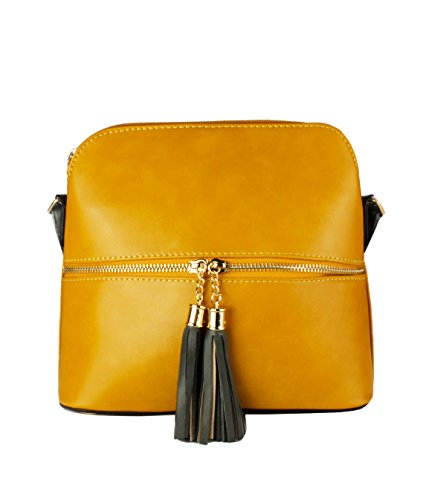 Foxlady Women's Elegant Tassel Zip Small Messenger Crossbody Shoulder Bag Mustard
