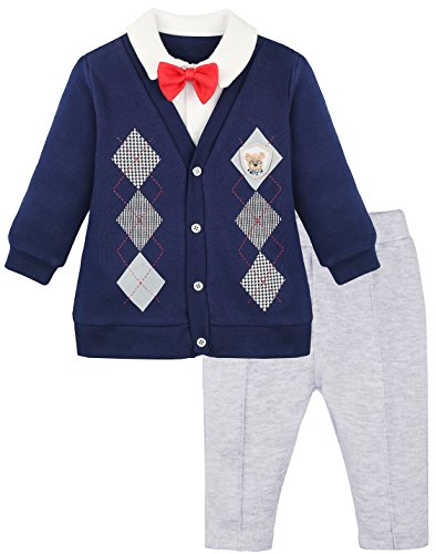 Lilax Baby Boys Gentleman Outfit Long Sleeve Shirt with Bow Tie and Pant 3 Piece Set