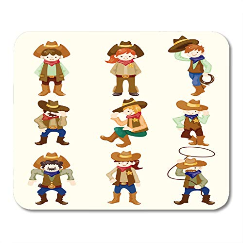 - Emvency Mouse Pads Adorable Bronco Cartoon Cowboy Chaps Character Cute Ranch Western Mouse Pad for notebooks, Desktop Computers mats 9.5