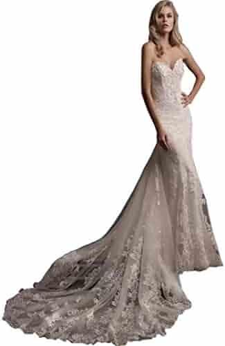 080f239022a4c Chady 2019 Sweetheart Mermaid Wedding Dresses with Detachable Train Fashion  Lace Sheath Wedding Dresses