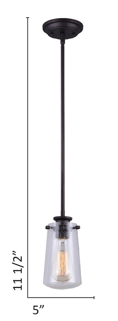 CANARM IPL623A01ORB LTD Mill 1 Light Rod Pendant Oil Rubbed Bronze with Seeded Glass