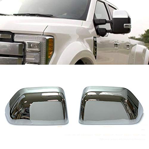 - Chrome Side Door Half Top Mirror Cover Trims Fit for 2017-2019 Ford F-250 F-350 Super Duty