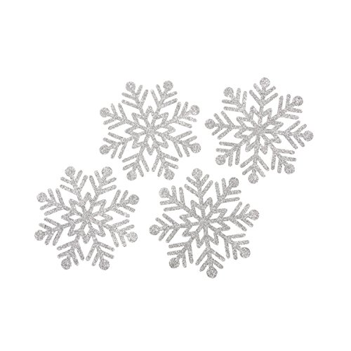 Kate Aspen Glitter Snowflake Felt Coasters (Set of 4), Silver