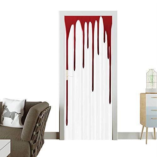 3D Door Decals Flowing Blood Horror Spooky Halloween Zombie Crime Scary Help me Themed Self Adhesive Door DecalW32 x H80 INCH -