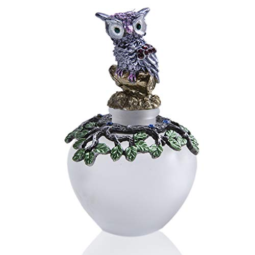 YU FENG 40ml Vintage Decorative Glass Perfume Bottle with Owl Figurine Rubber Stopper and Ancient Tree Curve Collectibles Gifts