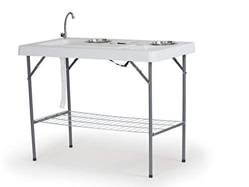 Organized Fishing FTLTT-126 Deluxe Fish Fillet Table, or Portable Folding Camping Kitchen with Cutting Board, Bowls, Knife, Odor Bar, Sink, Drain and More! 49.8