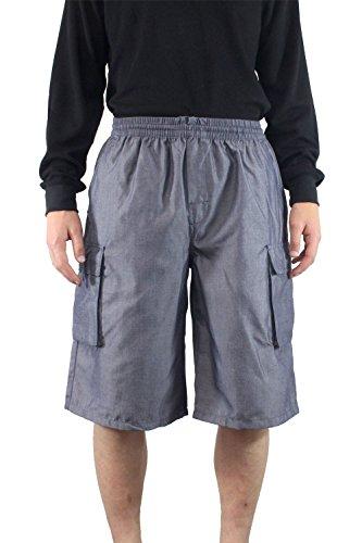 Yago Mens Elastic Drawstring Cargo Pocket Short (large, blue chambray)