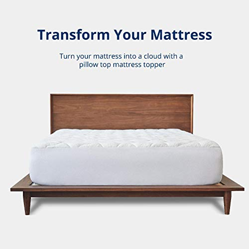 ViscoSoft Bamboo Mattress Pad Queen | Extra Plush Pillowtop Mattress Topper | 18 Deep Pockets