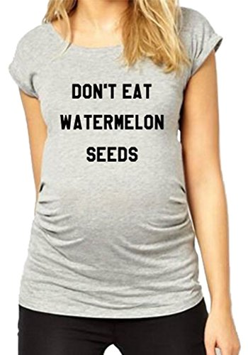 HAPPYBERRY Women Maternity T Shirt Funny Pregnancy Tops Ruched Side Graphic Tee Grey Medium]()