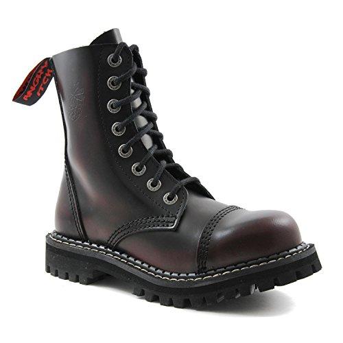 Angry Itch - 8-agujeros botas goticas punk de cuero rojo - números 36-48 - Hecho in EU!