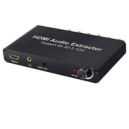 (VinTeam 4K DAC HDMI Audio Extractor with Volume Adjustment HDMI to Optical Spdif Toslink + Surround Analog 5.1CH Audio + 3.5mm Stereo Audio Converter for Blu-ray DVD Player Xbox One SKY HD Box PS3 PS4)